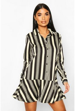 Petite Ruffle Hem Stripe Shirt Dress, Black