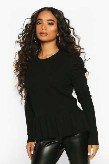 Black Petite Extreme Volume Sleeve Peplum Jumper