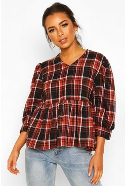 Black Petite Volume Sleeve Check Smock Top
