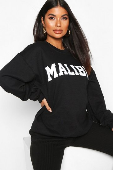 Womens Black Petite 'Malibu' Slogan Sweat Top