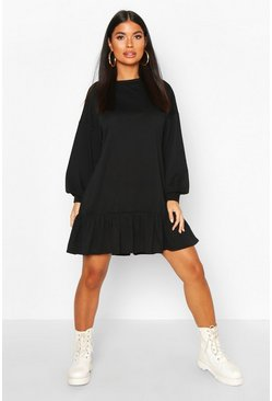 Womens Black Petite Drop Hem Long Sleeve Sweat Dress
