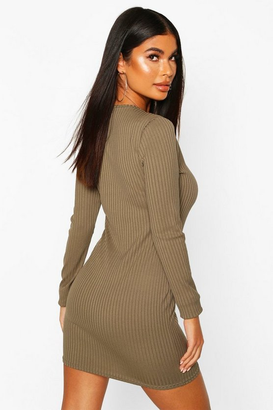 Petite Jumbo Rib Square Neck Mini Dress