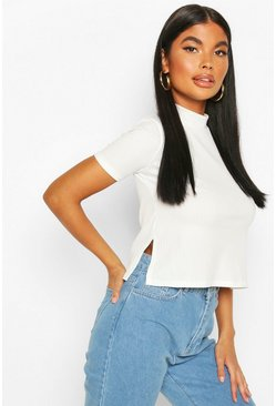 Ivory Petite Oversized Side Split Jumbo Rib T-Shirt