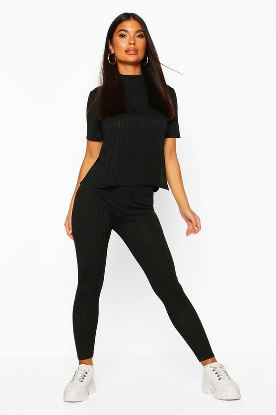 Black Petite Jumbo Rib Leggings