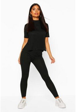 Womens Black Petite Jumbo Rib Leggings