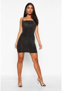 Womens Black Petite Cowl Neck Glitter Fabric Mini Dress