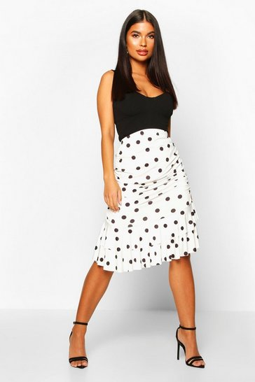 Womens Black Petite Polka Dot Ruched Mini Skirt
