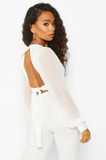 Womens Ivory Petite Mesh Balloon Sleeve Tie Back Top