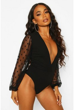 Womens Black Petite Mesh Volume Sleeve Bodysuit