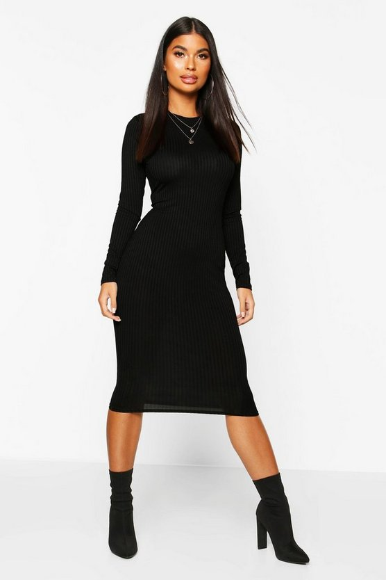 Womens Black Petite Jumbo Rib Long Sleeve Midi Dress