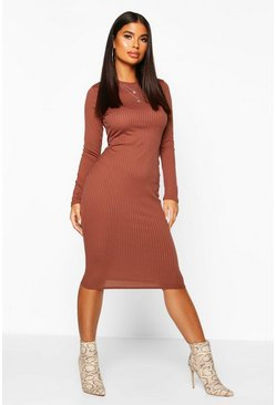 Womens Chocolate Petite Jumbo Rib Long Sleeve Midi Dress