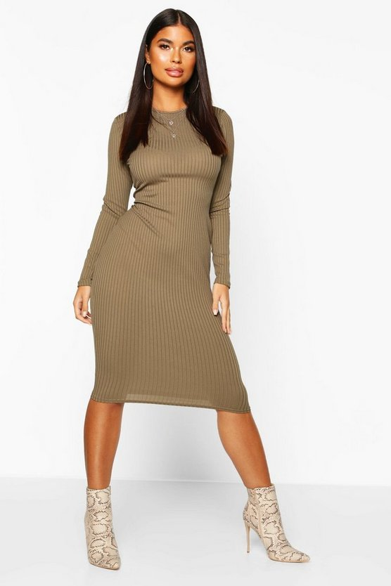 Khaki Petite Jumbo Rib Long Sleeve Midi Dress