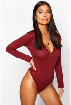 Womens Berry Petite Jumbo Rib Notch Detail Long Sleeve Bodysuit