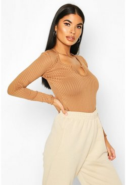 Camel Petite Jumbo Rib Notch Detail Long Sleeve Bodysuit
