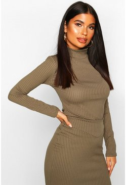 Khaki Petite Turtle Neck Jumbo Rib Top