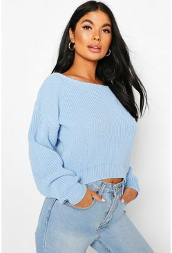 Pastel blue Petite Slash Neck Cropped Jumper