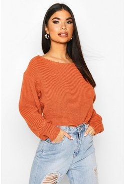 Womens Tan Petite Slash Neck Cropped Jumper
