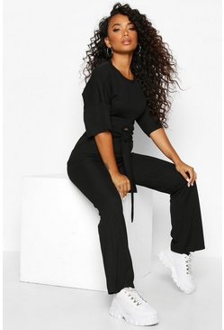 Womens Black Petite Tie Front Wide Leg Loungewear Set