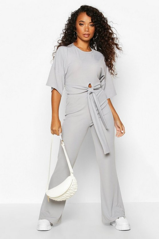 Grey Petite Tie Front Wide Leg Loungewear Set