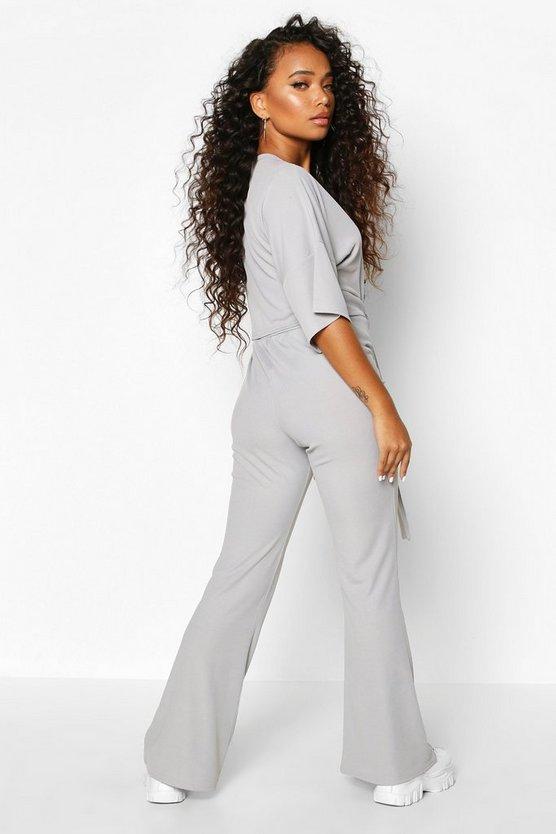 Petite Tie Front Wide Leg Loungewear Set