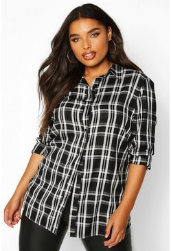 Black Plus Check Oversized Boyfriend Shirt