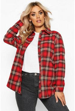 Womens Red Plus Oversized Brushed Check Boyfriend Shirt