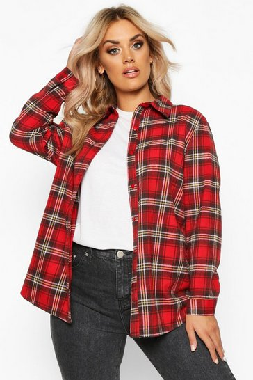 Red Plus Oversized Brushed Check Boyfriend Shirt