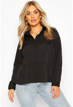 Womens Black Plus Utility Pocket Woven Smock Top