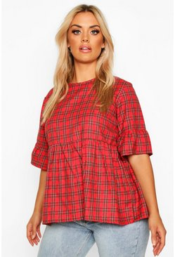 Red Plus Woven Check Smock Top