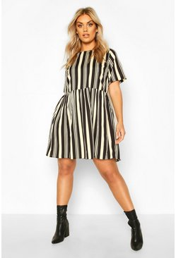 Black Plus Stripe Oversized Smock Dress