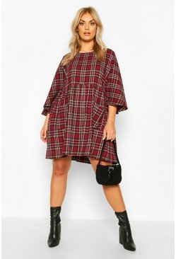Mustard Plus Check Pocket Front Smock Dress