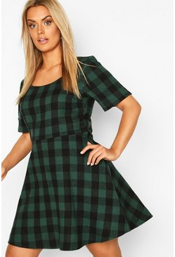Green Plus Check Skater Dress
