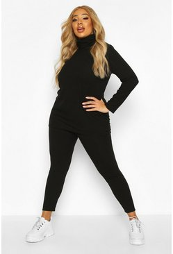 Womens Black Plus Soft Rib Roll Neck Top + Legging Set