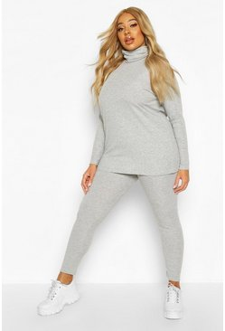 Womens Grey marl Plus Soft Rib Roll Neck Top + Legging Set
