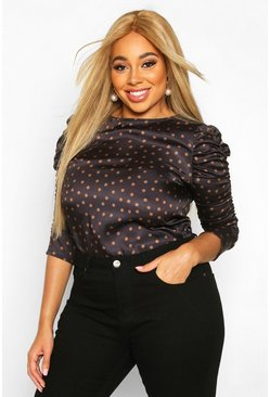 Chocolate Plus Polka Dot Puff Sleeve Peplum Top