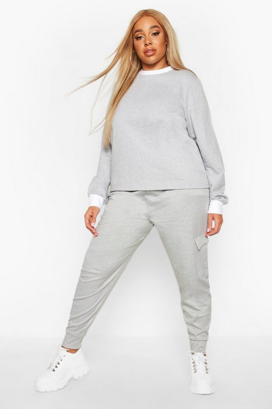 Womens Grey Plus Cargo Jogger