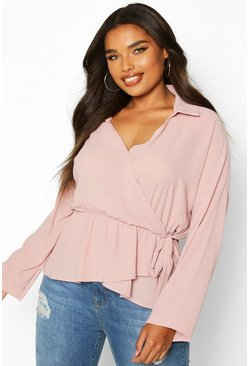 Womens Blush Plus Wrap Detail Shirt Blouse