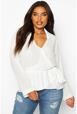 Ivory Plus Wrap Detail Shirt Blouse