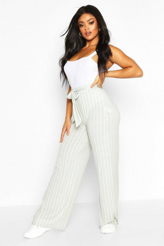 Grey Plus Wide Leg Belted Striped Pants