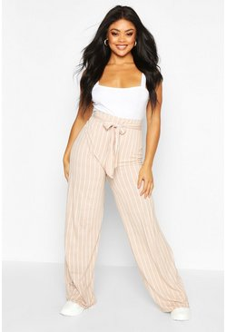 Womens Stone PLus Wide Leg Belted Striped Trouser