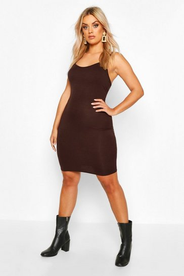 Womens Chocolate Plus Scoop Neck Basic Bodycon Dress