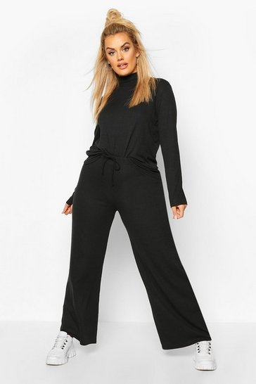 Black Plus Soft Rib High Neck Top + Wide Leg Trouser Co-ord