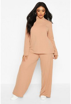 Womens Camel Plus Soft Rib High Neck Top + Wide Leg Trouser Co-ord