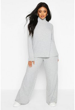 Womens Light grey Plus Soft Rib High Neck Top + Wide Leg Trouser Co-ord
