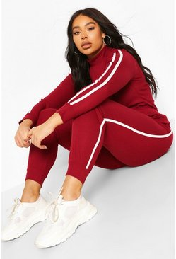 Berry Plus Soft Rib Stripe Top + Legging Lounge Set