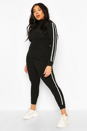 Black Soft Rib Stripe Top + Legging Lounge Set
