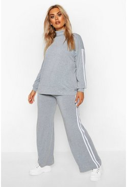 Womens Grey Plus Stripe Roll Neck + Trouser Lounge Set