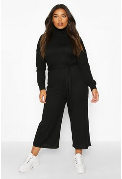 Womens Black Plus Soft Rib Self Belt Tie Culotte Jumpsuit