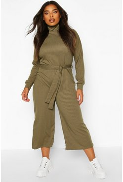 Khaki Plus Soft Rib Self Belt Tie Culotte Jumpsuit