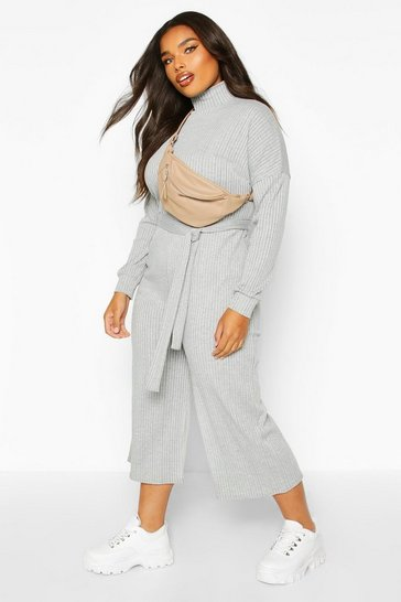 Womens Light grey Plus Soft Rib Self Belt Tie Culotte Jumpsuit